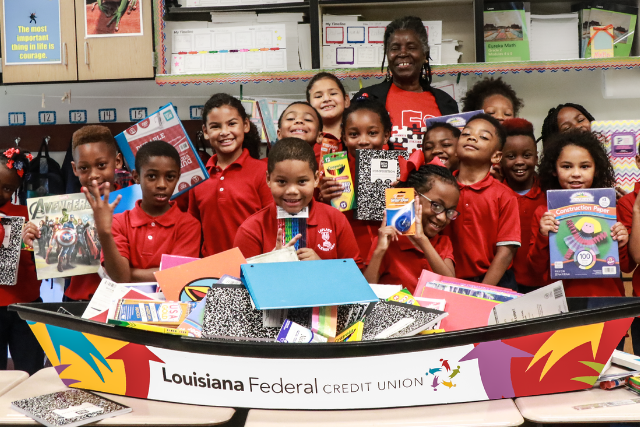 Louisiana FCU donates thousands of school supplies to local classrooms